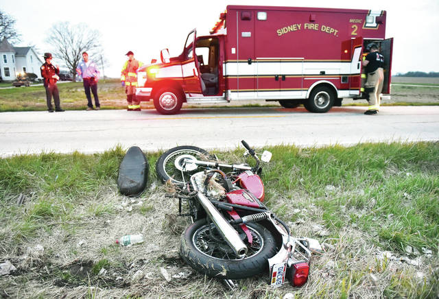 Travis Robert Milligan, 32, of Sidney, lost control of his Triumph Bonneville 750 motorcycle in the 3000 block of West Russell Road, crashing through a mailbox on the side of the road at 8:12 p.m. on Friday, April 24. Milligan refused treatment at the scene of the crash.