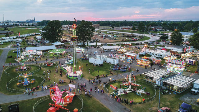An aerial view of the Shelby County Fair at dusk on July 27, 2019. The Shelby County Fair Board announced on Facebook late Wednesday the 2020 event has been canceled. It hopes the junior fair events will proceed as scheduled this summer.