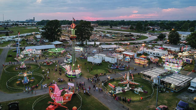An aerial view of the Shelby County Fair at dusk on July 27, 2019. The Shelby County Fair Board announced on Facebook late Wednesday the 2020 event has been canceled.