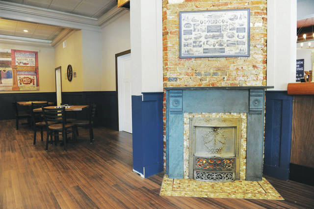 A fireplace was stripped away to reveal the original slate underneath.