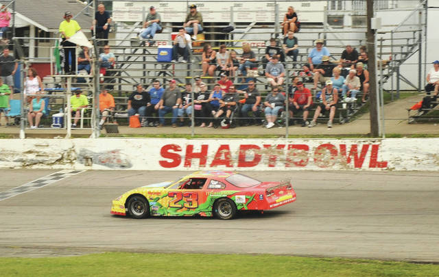 A car drives by the Shadybowl logo during a race. The DeGraff speedway has yet to open this season due to restrictions in place stemming from the coronavirus pandemic but owner Rick Young is hopeful to have races again later this year.