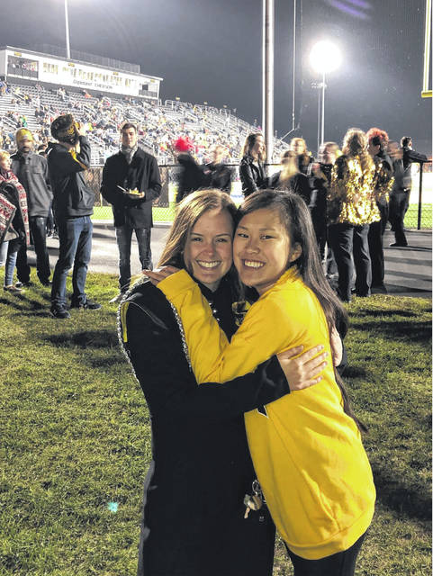 This photo is me and one of my best friends, Katie Butts, on senior night for Marching Band.
