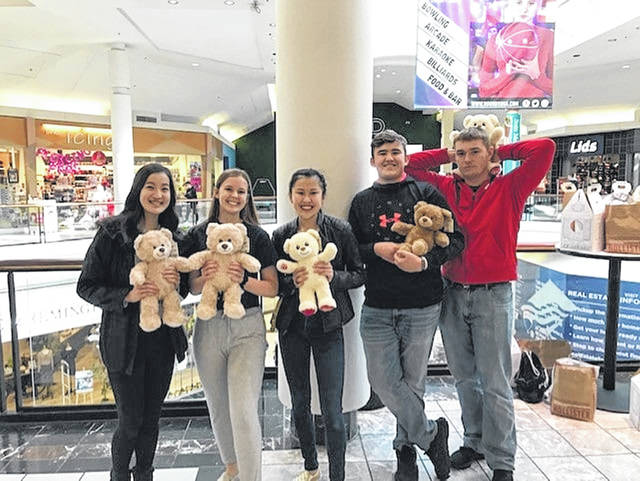 This is a Picture of me and my really good friends at the Fairfield mall after we went to build a bear (Yes, I am sure we are seniors in High School).