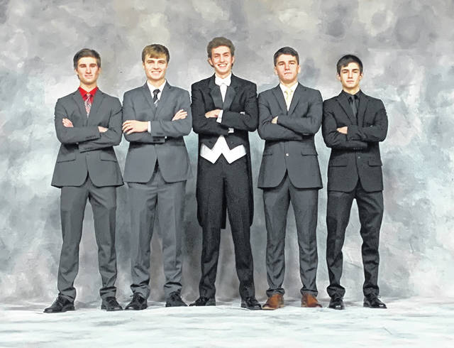 Fairlawn friends Jordan Henman, Jonah Brautigam, Cade Allison, Garrett Hageman and Garrett Smails pose for a photo at Homecoming 2019.. Jonah Brautigam will be attending Ohio University majoring in Electrical Engineering. His best memory is Dairy Judging and finishing 3rd in the state and then getting to go to the National Dairy Judging in Harrisburg, Penn., with his cousins in the fall 2019.