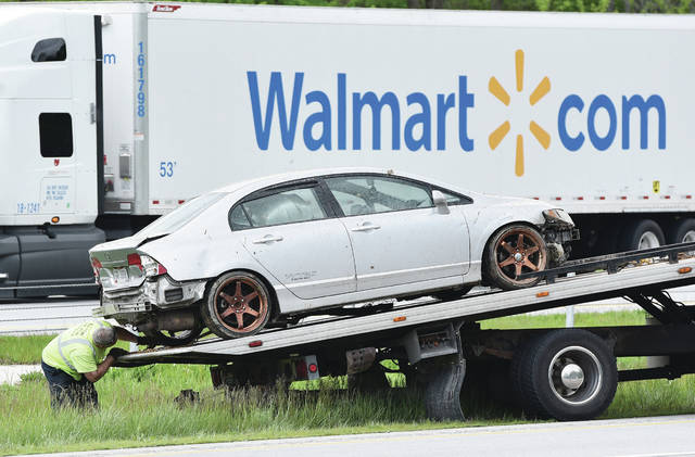 A car is lifted out of the median next to the north bound lanes of Interstate 75 near mile marker 96 just north of Sidney where it was involved in an accident with another vehicle. One person was taken to Wilson Health. The accident occurred around 2:20 p.m. on Friday, May 22. The Ohio State Highway Patrol responded.