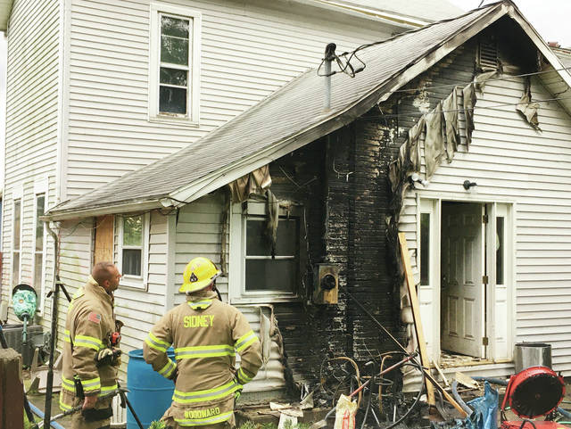 Sidney firefighters respond to a house fire at 427 S. Wilkinson on Wednesday, May 27. No injuries. The kitchen sustained heavy damage, and there was smoke damage throughout the rest of the house. Four adults and one child were displaced. DP&L and Vectren responded as well.
