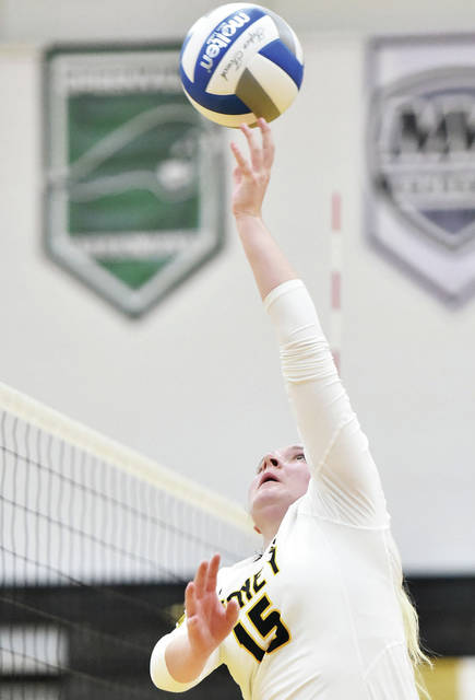 Sidney senior Faith Bockrath spikes during a nonconference match against Northmont on Sept. 7, 2019 at Sidney High School. Volleyball is the only indoor sport played in fall, and Sidney athletic director Mitch Hoying said he thinks most gymnasiums will be able to accommodate crowds even with social distancing guidelines in place due to the COVID-19 pandemic. Hoying said both sides of gyms will likely be utilized for volleyball matches; many schools typically have just one side gym bleachers open for spectators.