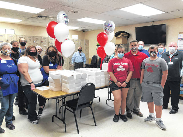 Andrew Shaffer, an agent for State Farm, and his employees donated 120 lunches to workers of Kroger and Sidney Foodtown.