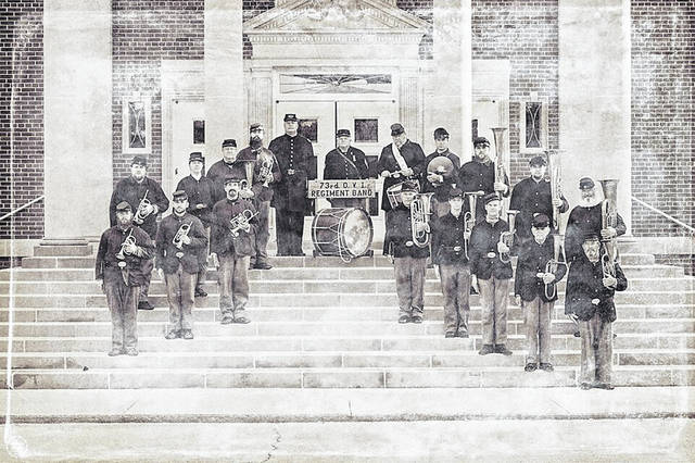 The 73rd Ohio Volunteer Infantry Regimental Band poses for a photo after a performance in 2019. Because of the pandemic, they have only performed once so far this year.