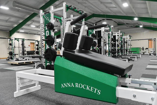 A view of the front part of the new Rocket Athletic Center on Thursday. The Anna Athletic Boosters is hosting a ribbon cutting and open house on Sunday at the new sports training facility, which is located on the northeast corner of S. Walnut Street and N. 2nd Street in Anna. The front half of the RAC holds workout equipment, while the back half is an open space with artificial turf and is designed for agility training and for use as baseball and softball batting cages.