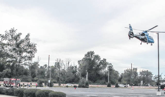 CareFlight made several trips to Shelby County on Sunday, July 19. During one of the trips, the helicopter had to land in the parking lot at Wilson Health.