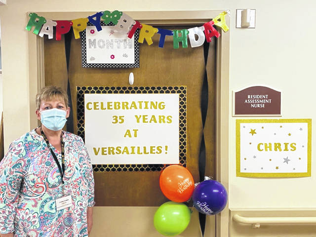 Chris Huber, a case manager and an infection preventionist, celebrated her 35th anniversary of working at Versailles Rehabilitation and Healthcare Center.