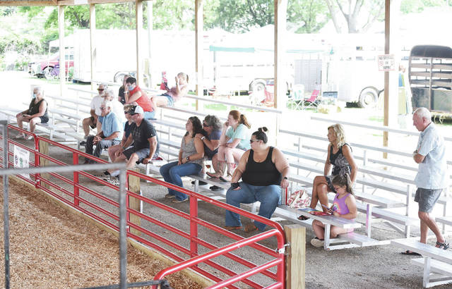 Spectators social distance as they watch the breeding sheep show at the Shelby County Fair on Sunday, July 26.