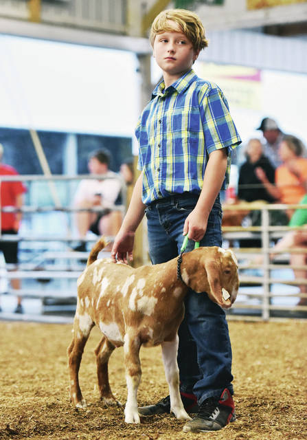 Luke Farrier, 9, of Houston, son of Joshua and Haley, shows his market goat at the Shelby County Fair on Monday, July 27.