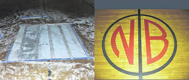 New Bremen Local Schools recovered a piece of a gym floor that was stolen this week from the former elementary school. Someone had cut the NB logo out of the center of the gym floor, which had been in the school since 1929. New Bremen will display the NB logo at its new elementary school, which is scheduled to open in September.