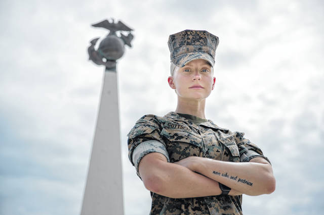 U.S. Marine Cpl. Veronika R. Gottschalk, an intelligence specialist with 3rd Marine Division, poses for a photo June 3 at Camp Courtney, Okinawa, Japan. Gottschalk shared her story of becoming a Marine after being adopted from Russia at the age of 6.