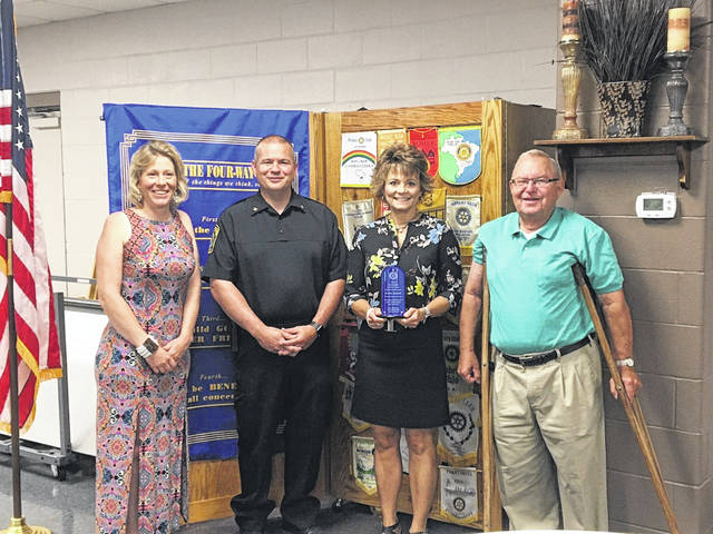 President-Elect Tess Elshoff, President Mike Skinner, Rotarian of the Year Lesia Arnett, and Past President Larry Dickle at the June 30 meeting of the New Bremen New Knoxville Rotary Club.