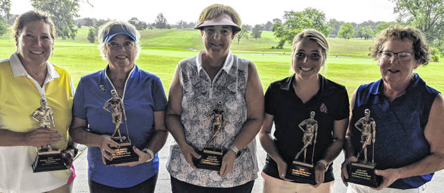 The 2020 Shelby County Open for both men and women was played this past weekend at Shelby Oaks Golf Club. Pictured, left to right, are women's winners Deb Goffena, Jeanie Bosslet, Ellen Joslin, Emily Knouff and Luanne Fultz.
