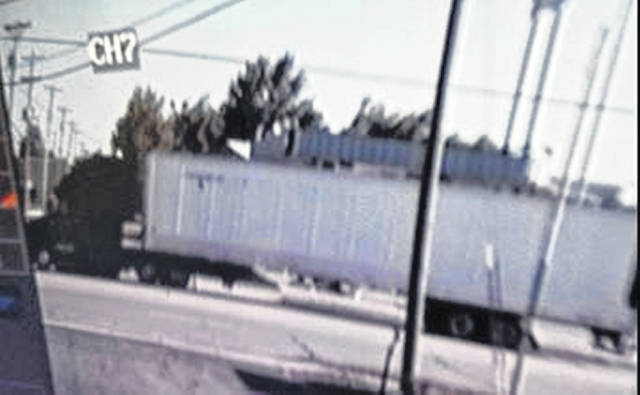 Sidney Police are looking for this red or a darker colored Freightliner Cascadia model semi truck that allegedly hit a bicyclist on state Route 47 Tuesday morning.