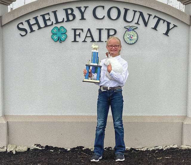 Aubrey Swob won Junior Showmanship Champion Rabbits at the 2020 Shelby County Far.