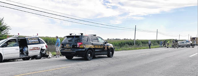 Shelby County Sheriff's deputies respond to a three-vehicle rear-end crash on state Route 47 at Wright Puthoff Road at 8:33 a.m. on Monday, Aug. 17. Several people were transported by Fort Loramie Rescue to Wilson Health.