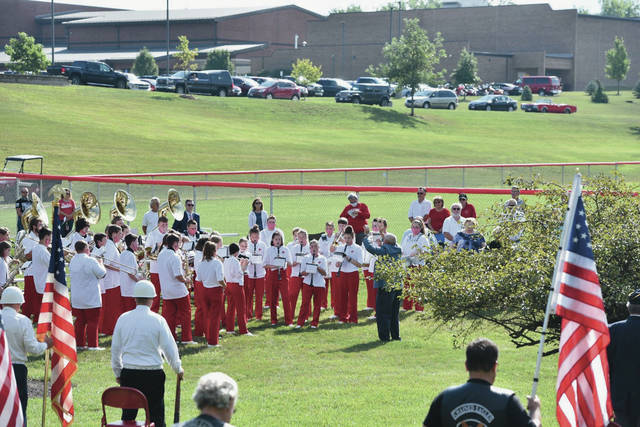 Houston High School band performs.