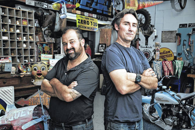 "Mike Wolfe, right, and Frank Fritz will visit Ohio in October for their show, ""American Pickers."""