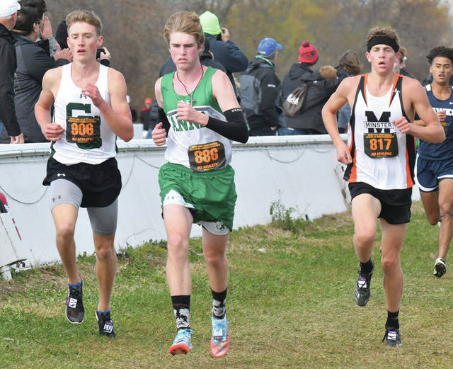 Anna's Lucas Smith, center, and Minster's Alex Albers, right, run during the Division III boys race in the state cross country meet on Nov. 2, 2019 in Hebron. While Gov. Mike DeWine still has yet to make a decision on whether contact sports will be played in Ohio this fall, Lt. Gov. Jon Husted announced Tuesday the state government has reassigned cross country as a non-contact sport, which allows for meets to take place.
