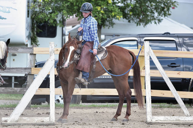 Albert Vonderhuevel, 16, of Botkins, son of Dan and Candy Vonderhuevel, practices going through a gate while waiting to compete at the Auglaize County Fair on Thursday, Aug. 6.