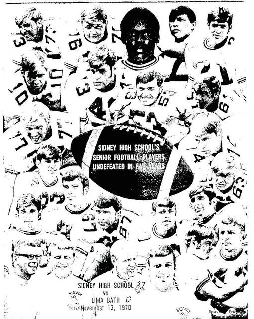 The cover of the final Sidney High School football game program of the 1970 season. The class was undefeated through three years of varsity play.