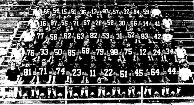 Team photo of the 1975 Sidney football team. The squad faced West Carrollton that season in the first of three close Miami Central Conference encounters over the next four years.
