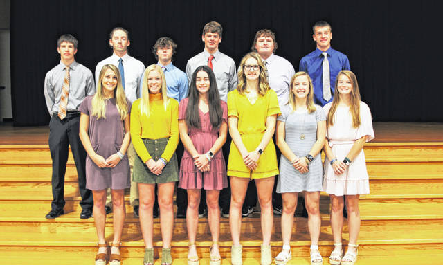 Senior members of the court, top row, left to right, are Luke Billenstein, Jack Gehret, Troy Jones, Jared DeMange, Elliot George and Noah Bargal and front row, Abby Stammen, Morgan Schlater, Kate Griesdorn, Emma George, Darian Feltz and Renea Schmitmeyer. Senior Reps - Abby Stammen daughter of Jason and Marcie Stammen and Luke Billenstein son of Jason and Kelly Billenstein