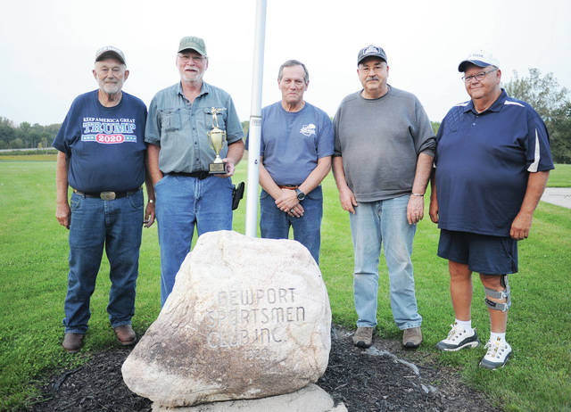 Out West Drive Thru team members won first place handicap in the Newport Sportsmen League Tuesday, Sept. 22., Members of the team are, left to right, Dick Barhorst, Joe Barr, Randy Giesseman, Rick Ewing and Tom Linn.