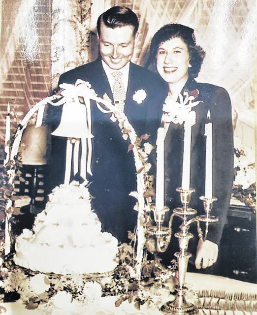 Janet and Murray Elsass on their wedding day, held Sept. 9, 1950, at Christian Church in Greenville.