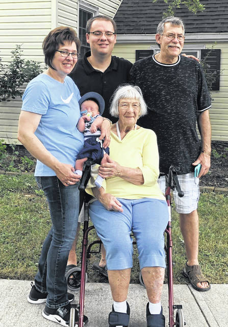 Josephine Fogt, center, of Sidney, is pictured with her great-great-grandson, Nash Gold. With them, left to right, are Nash's grandmother Mollie Gold, of Sidney, father Brian Gold Jr., of Crestline, and great-grandfather Steve Fogt, of Sidney.
