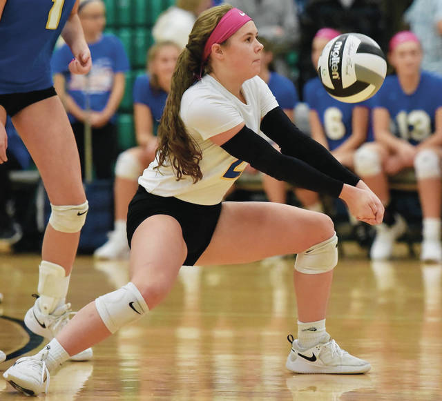 Russia's Kendall Monnin bumps during a Division IV regional semifinal volleyball match against Fairlawn on Oct. 31, 2019 at Northmont High School's Thunderdome. Monnin had 55 digs and and six aces through the team's first four matches. All athletic events at Russia until Sept. 15 are postponed or canceled due to the junior and senior high schools being closed because of a COVID-19 surge in the village.