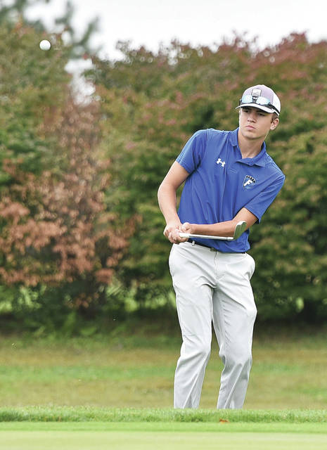 Fairlawn's Kyle Peters swings during the SCAL boys golf tournament on Thursday at the Shelby Oaks Golf Club in Sidney.