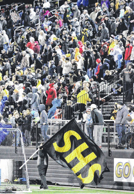 A view of Sidney fans in the bleachers at Sidney Memorial Stadium during a playoff game against Dayton Belmont on Nov. 3, 2017. The Yellow Jackets will face New Richmond in their home opener on Friday. The game was hastily scheduled Tuesday after Sidney's original opponent, West Carrollton, had a player test positive for COVID-19. The Pirates will not play for two weeks as a result.