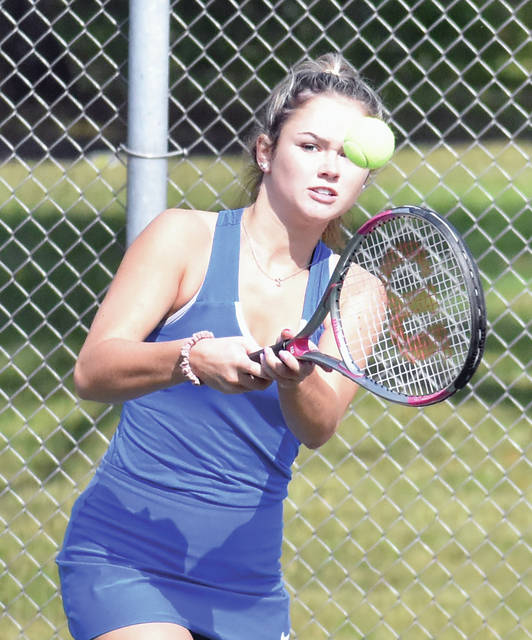 Lehman Catholic's Madi Gleason hits a backhand during the Division II sectional tournament on Tuesday at Troy Community Park.