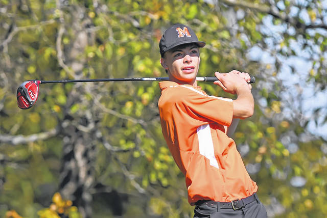 Minster's Brady Hoelscher plays his shot from the 13th tee during the final round of the Division III boys state golf tournament on Saturday at NorthStar Golf Club in Sunbury. The Wildcats tied for tenth.