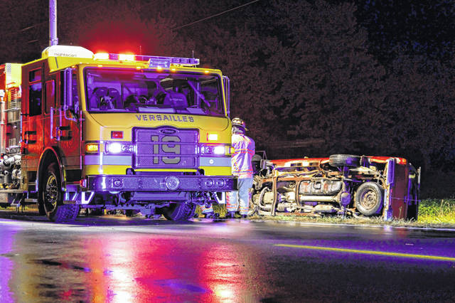 A Versailles man was arrested for OVI Friday night following a single-vehicle rollover crash on State Route 47.