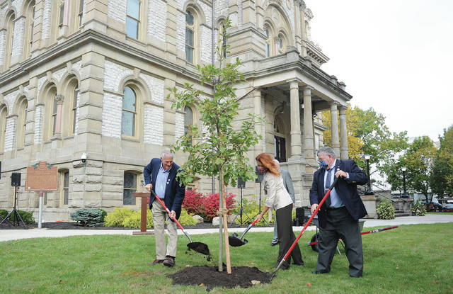 Shelby County Commissioners Tony Bornhorst, Julie Ehemann and Bob Guillozet throw some mulch on the tree.