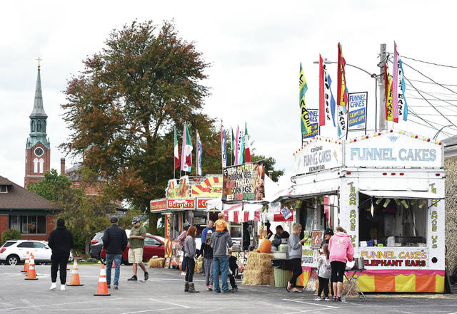 Food vendors in the Minster Knights of Columbus parking lot on Saturday, Oct. 3 during a very toned down Minster Oktoberfest.