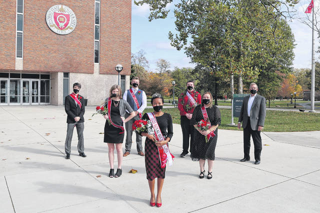 Ohio State University Lima campus' 2020 homecoming court members are, back row, left to right, Nicholas Norton, Devin Stoker, Nicholas Vulgamott and Dean Tim Rehner; and front row, Kirsten Brunswick, Lauryn Richardson and Crystal Altstaetter.