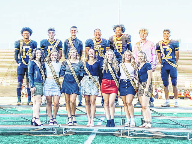 The 2020 Sidney High School homecoming court included, front row, left to right, Abby Nuss, Makayla Dillinger, Lauren Barker, Katie Atwood, Jadyn Curl, Khia McMillen, Alyssa Schloss, back row, left to right, Jacob Wheeler, Beau Davis, Ryan Caufield, Isaiah Huggins, Avante Martin, Ryan Schloss and Cedric Johnson.