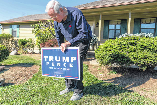 """James Porter, 82, of Franklin, installed his """"Trump 2020"""" sign on Oct. 13. Porter was one of the last handful of residents to not take a public stance on the presidential election in their yard."""
