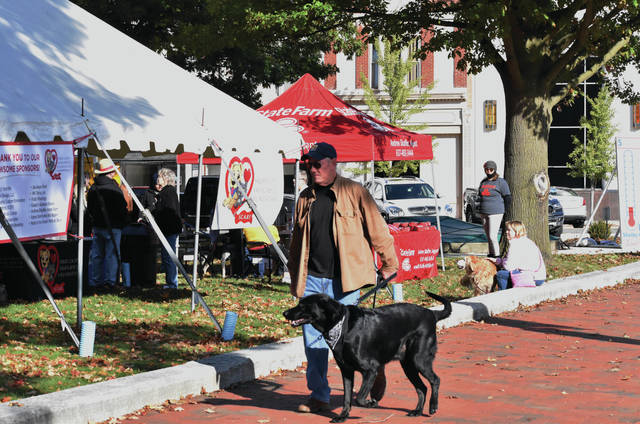 Kevin Kinsella, of Sidney, walks his dog, Sydney, around the courtsquare during the S.C.A.R.F. Walk to End Parvo on Saturday, Oct. 17. Parvo is a highly infectious virus that is usually fatal to canines without treatment. There is a vaccine for parvo.