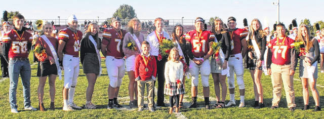 New Bremen High School held its 2020 homecoming game on Friday, Sept. 18. Before the game the homecoming court was recognized. The court included sophomore attendants Carter Elking and Abbi Powers, junior attendants Branxton Krauss and Kyla Stachler, senior attendants Hunter Williams and Elli Blue Roetgerman, King Connor Ransbottom and Queen Tess Lane, first grade attendants Bryce Monfort and Lucy Wente, senior attendants Sam Sailer and Josie Reinhart, senior attendants Wyatt Dicke and Madison Cordonnier, and freshmen attendants Clint Voress and Amelia Dammeyer.