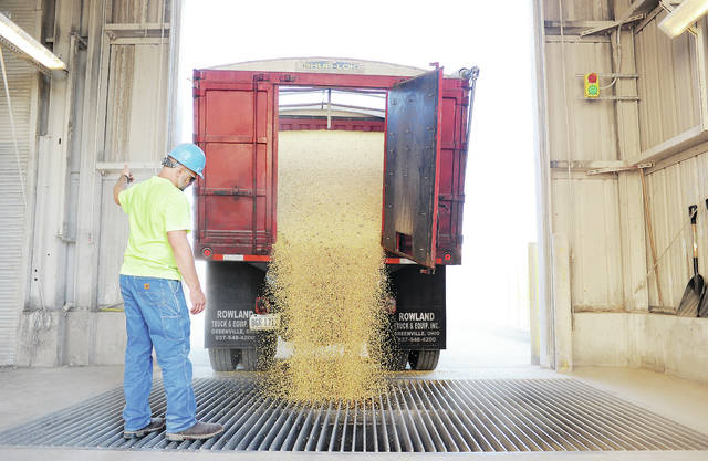 Cargill employee Dustin Fourman, of Greenville, unloads soybeans from a truck Thursday at the Cargill grain elevator located along South Vandemark Road just south of Campbell Road next to the railroad tracks.