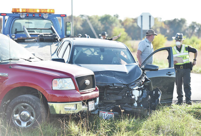 A grey Chevrolet Equinox and a red Ford F-150 pickup collided at the intersection of state route 48 and state Route 66 at 4:02 p.m. on Tuesday, Oct. 13. The driver of the truck, Larkin Jay Ressler, 19, of Arcanum, was cited with failure to yield at stop or yield sign.